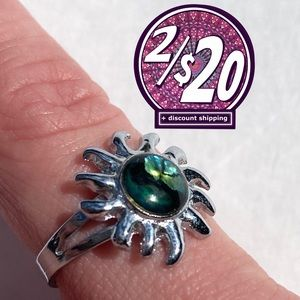 2/20 Multicoloured Stone Adjustable Sun Ring Swirl